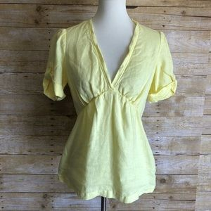 Yellow Banana Republic 100% Linen Blouse Sz S